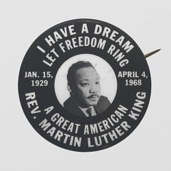 Pinback button of Rev. Martin Luther King, Jr.