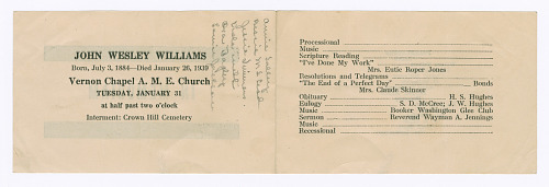 Image for Funeral program for John Wesley Williams