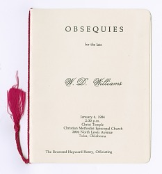 Funeral program for W. D. Williams