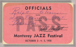 Official pass for the Monterey Jazz Festival