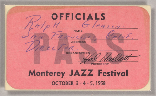 Image for Official pass for the Monterey Jazz Festival