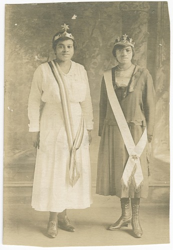 Image for Photographic postcard of Magdalene Hendricks and sister in Eastern Star regalia