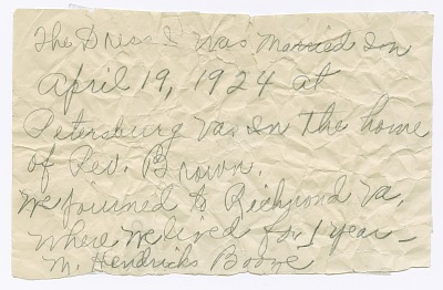 Handwritten note from Magdalene Hendricks Boozé