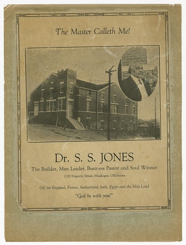 Image for Flier advertising S.S. Jones farewell meeting
