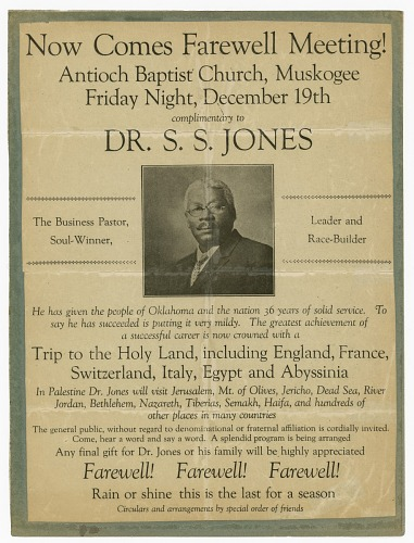 Image for Flier promoting S.S. Jones farewell meeting