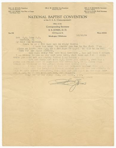 Image for Letter to C.M. Long from Reverend S.S. Jones