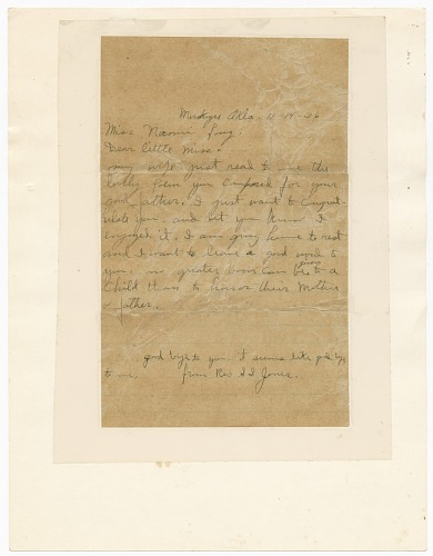 Image for Letter to Naomi Long from Reverend S.S. Jones regarding Clarence Long