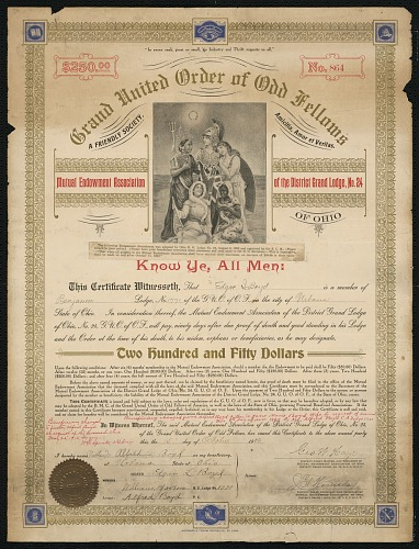 Image for Certificate of endowment for the Grand United Order of Odd Fellows