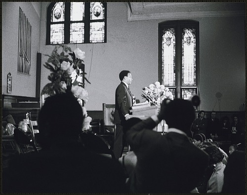 Image for Andrew Young addressing he audience at the first birthday celebration in memory of Dr. Martin Luther King, Jr.