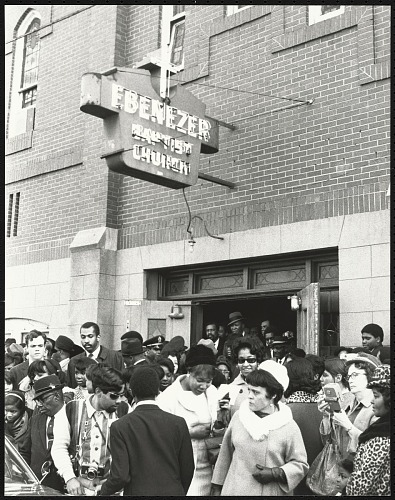 Image for Crowd gathered outside of Ebenezer Baptist Church after the first birthday celebration of Dr. Martin Luther King, Jr.