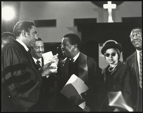 Image for Rev. Dr. Joseph Echols Lowery, Congressman John Conyers, Rev. Dr. Ralph David Abernathy, Mrs. Rosa Parks and Mr. Robinson, chatting
