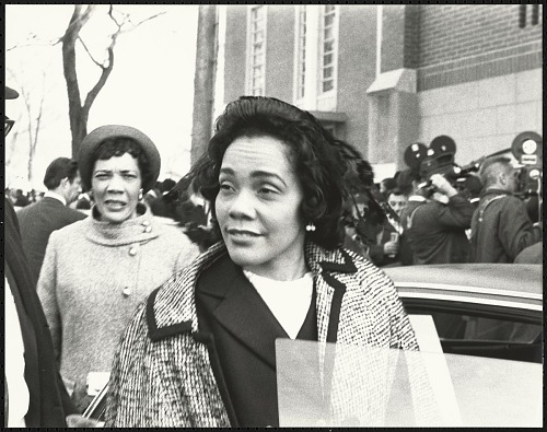 Image for Coretta Scott King talking with the press after the first birthday celebration of Dr. Martin Luther King, Jr.