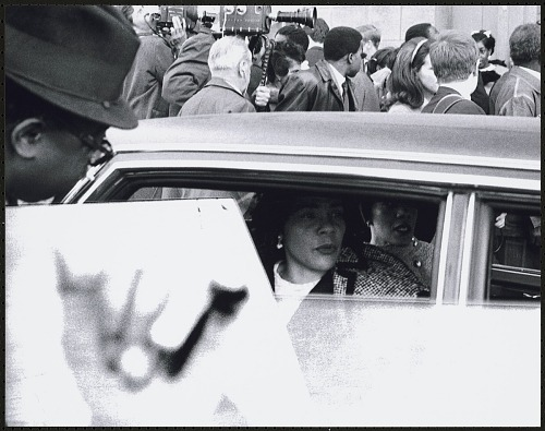 Image for Coretta Scott King inside limosine leaving the first birthday celebration of Dr. Martin Luther King, Jr.