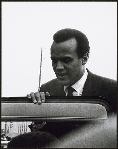 Image for Harry Belafonte holds the door open for the King children before getting into his limosine