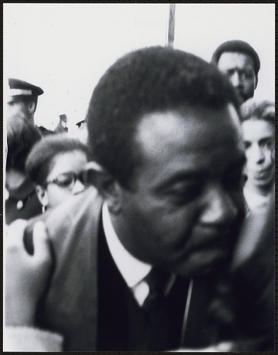Image for Dr. Ralph David Abernathy being kissed on the cheek by an admirer after the memorial service