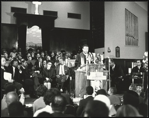Image for Dr. Ralph Abernathy addresses the audience inside Ebenezer Baptist Church