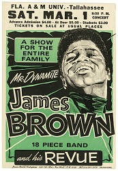 Poster advertising a James Brown concert at Florida A&M University