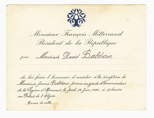 Image for Legion of Honour Reception Invitation to David Baldwin from François Mitterrand