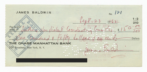 Image for Check to SNCC from James Baldwin