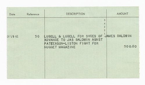 Image for Check receipt for advanced payment to James Baldwin from Nugget Magazine