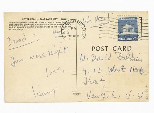 Image for Postcard to David Baldwin from James Baldwin