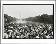 Image for Crowds surrounding the reflecting pool, reaching back to the Washington Monument at the March on Washington for jobs and racial equality