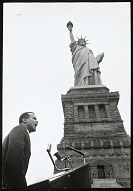 Image for Singer Harry Belafonte, speaking at civil rights rally at Statue of Liberty