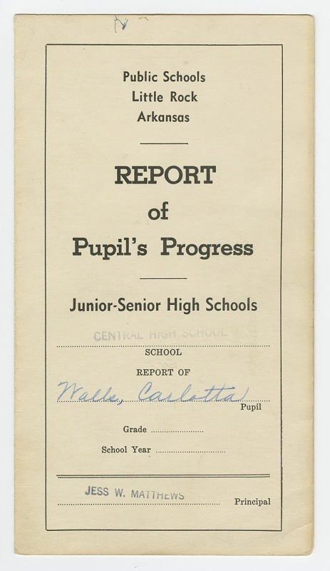 Image 1 for Report card for Carlotta Walls from Little Rock Central High School