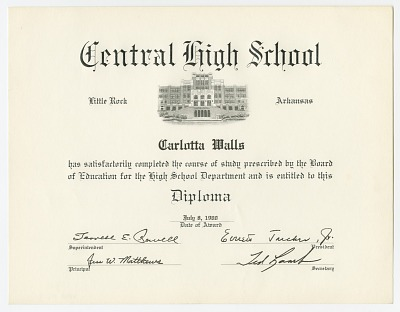 Diploma for Carlotta Walls from Little Rock Central High School