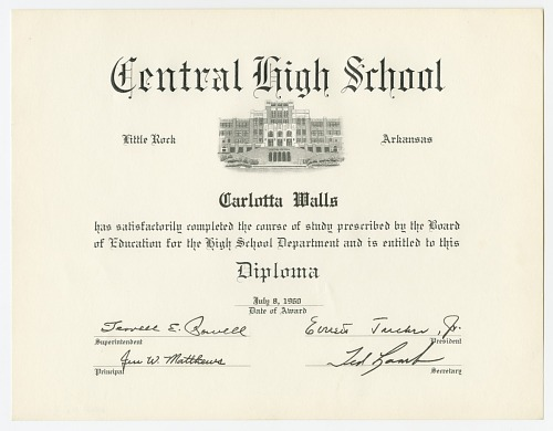 Image for Diploma for Carlotta Walls from Little Rock Central High School