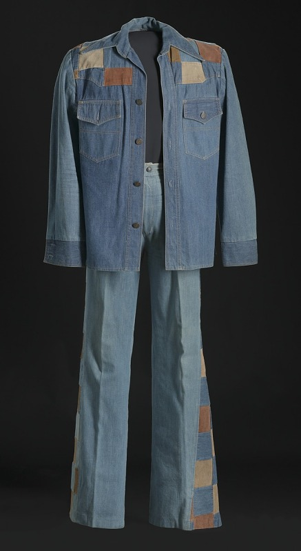Image 1 for Denim and suede suit jacket and bellbottoms worn by Charley Pride