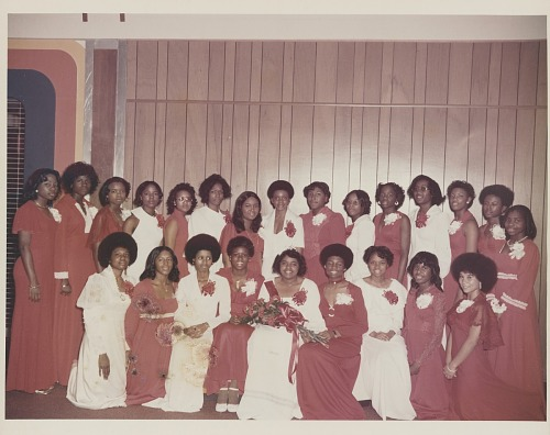 Image for Group portrait of women in red and white dresses