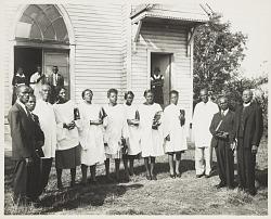 Group portrait of church clergy and choir