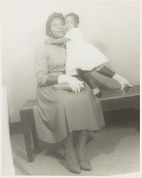 Studio portrait of mother and child