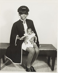 Studio portrait of mother and infant