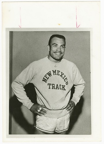 Image for Contact print of Dick Howard wearing New Mexico Track sweatshirt
