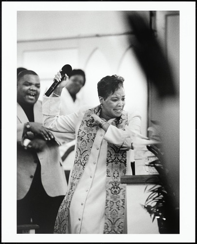 """Image for Rev. Gina M. Stewart, pastor of Christ MBC, moves the congregation during her """"Resurrection Sunday"""" message, Memphis, Tennessee, 2005"""
