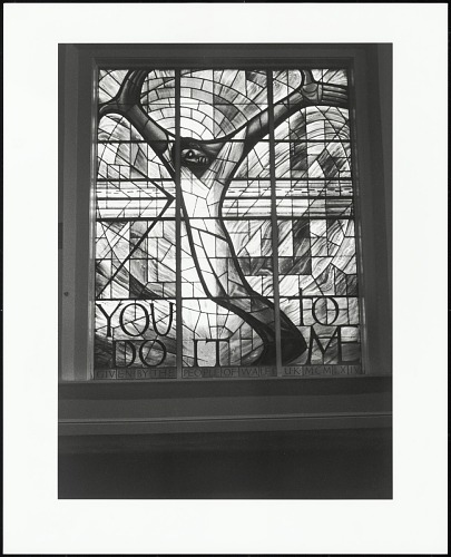 Image for Stained-glass window given by the people of Wales adorns the balcony of the historical Sixteenth Street Baptist Church (site of a fatal1963 bombing), Birmingham, Alabama, 1996