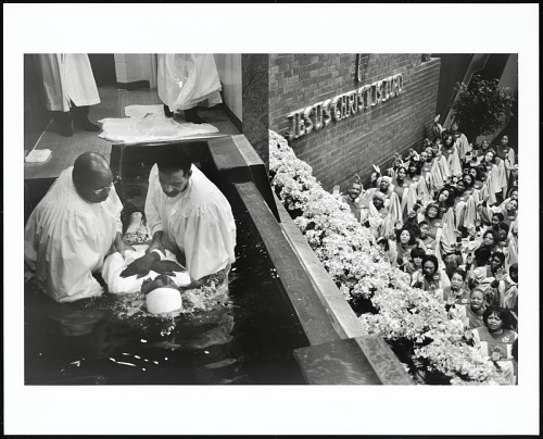 Image for The Sanctuary Choir sings as converts are baptized after the morning worship service at Apostolic Church of God, Chicago, Illinois, 2005