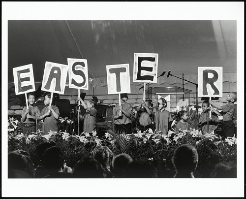 Image for Children from Metropolitan Baptist Church use letters to announce Easter on the Washington Monument grounds, Washington, D.C., 1999