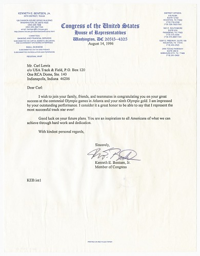 Image for Letter from US Representative Kenneth E. Bentsen, Jr. to Carl Lewis