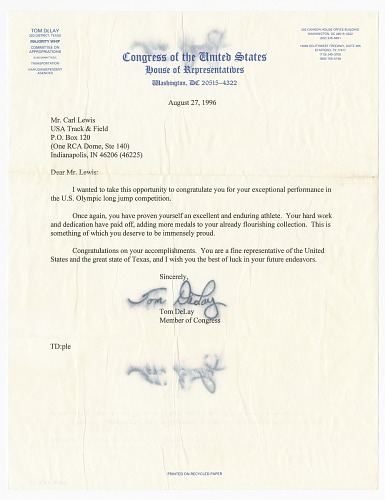 Image for Letter from US Representative Tom DeLay to Carl Lewis