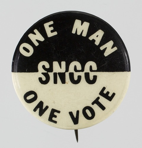 Image for Pin-back button for SNCC's One Man One Vote campaign