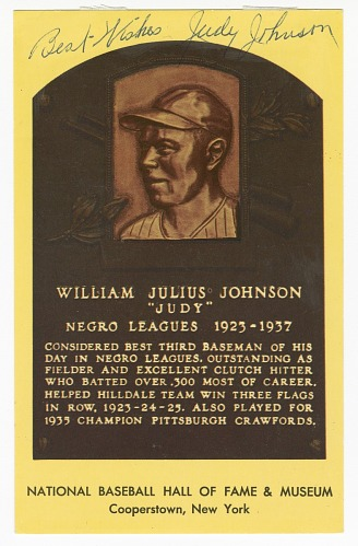 Image for Postcard of Judy Johnson Baseball Hall of Fame plaque