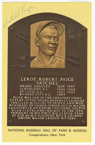 Image for Postcard of Satchel Paige Baseball Hall of Fame plaque