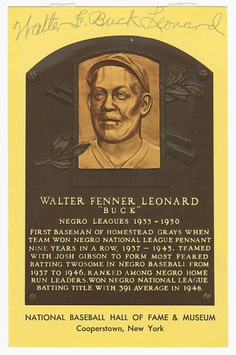 Image for Postcard of Buck Leonard Baseball Hall of Fame plaque