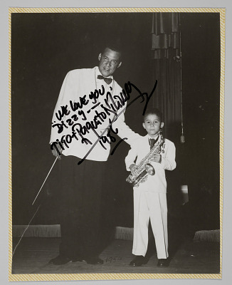 Photographic print of Tito and Paquito D'Rivera inscribed to Dizzy Gillespie