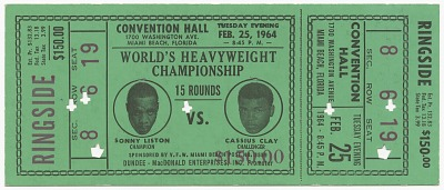 Ticket for World Heavyweight Championship fight of Sonny Liston vs. Cassius Clay