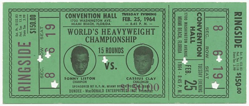 Image for Ticket for World Heavyweight Championship fight of Sonny Liston vs. Cassius Clay