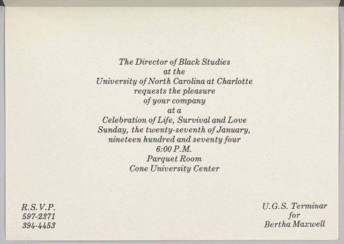 Image for Invitiation for a event hosted by the Black Studies Department of UNCC